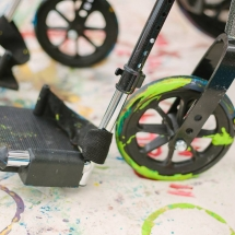 Paint-covered wheels up close