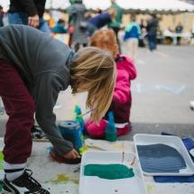 Kid painting up close
